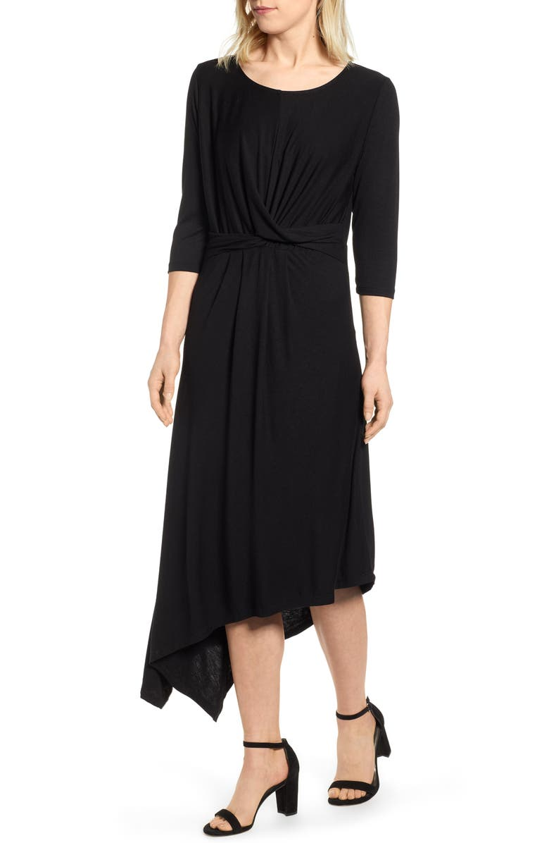 BOBEAU Clara Twist Front Asymmetrical Dress, Main, color, BLACK