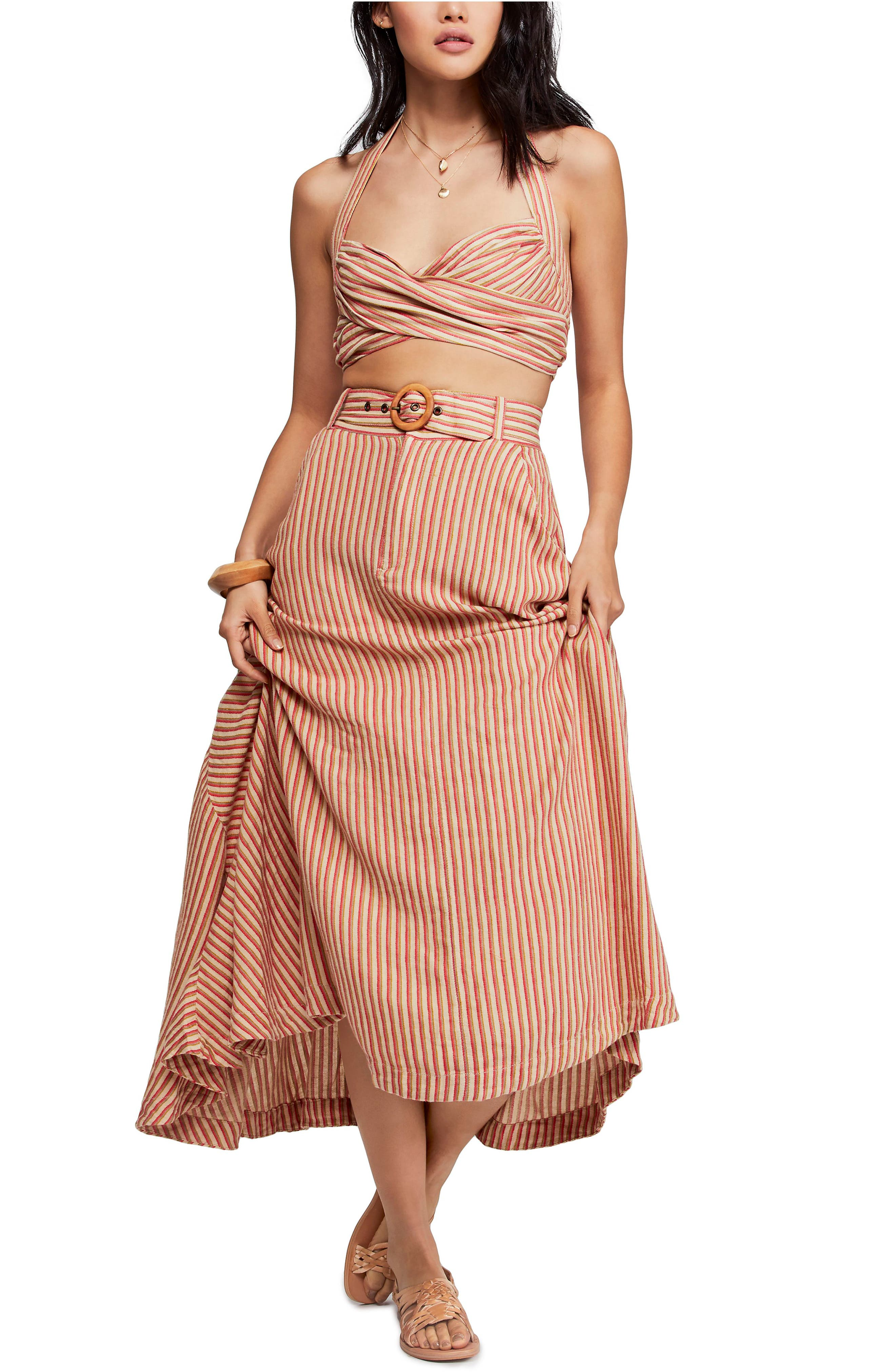 Free People Casablanca Crop Top & Skirt, Orange