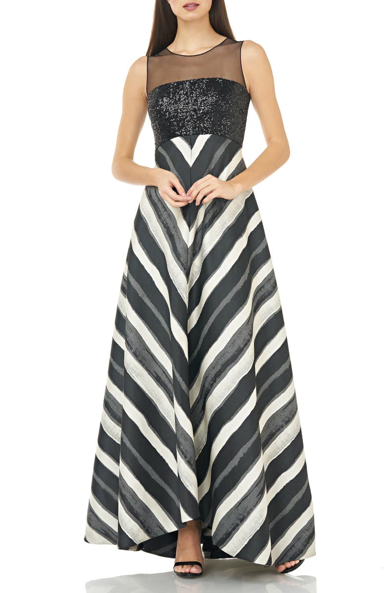 CARMEN MARC VALVO INFUSION Sequin & Stripe Ballgown, Main, color, BLACK/ IVORY