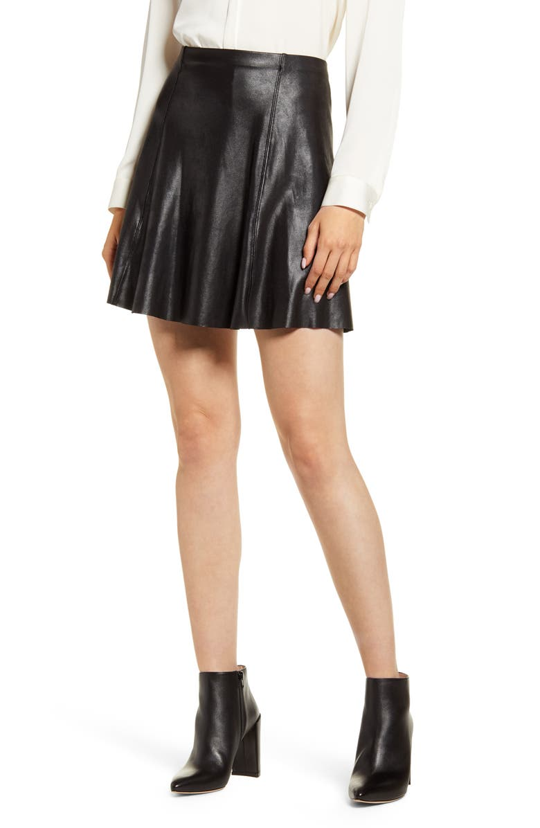 SPANX<SUP>®</SUP> Faux Leather Skater Skirt, Main, color, VERY BLACK