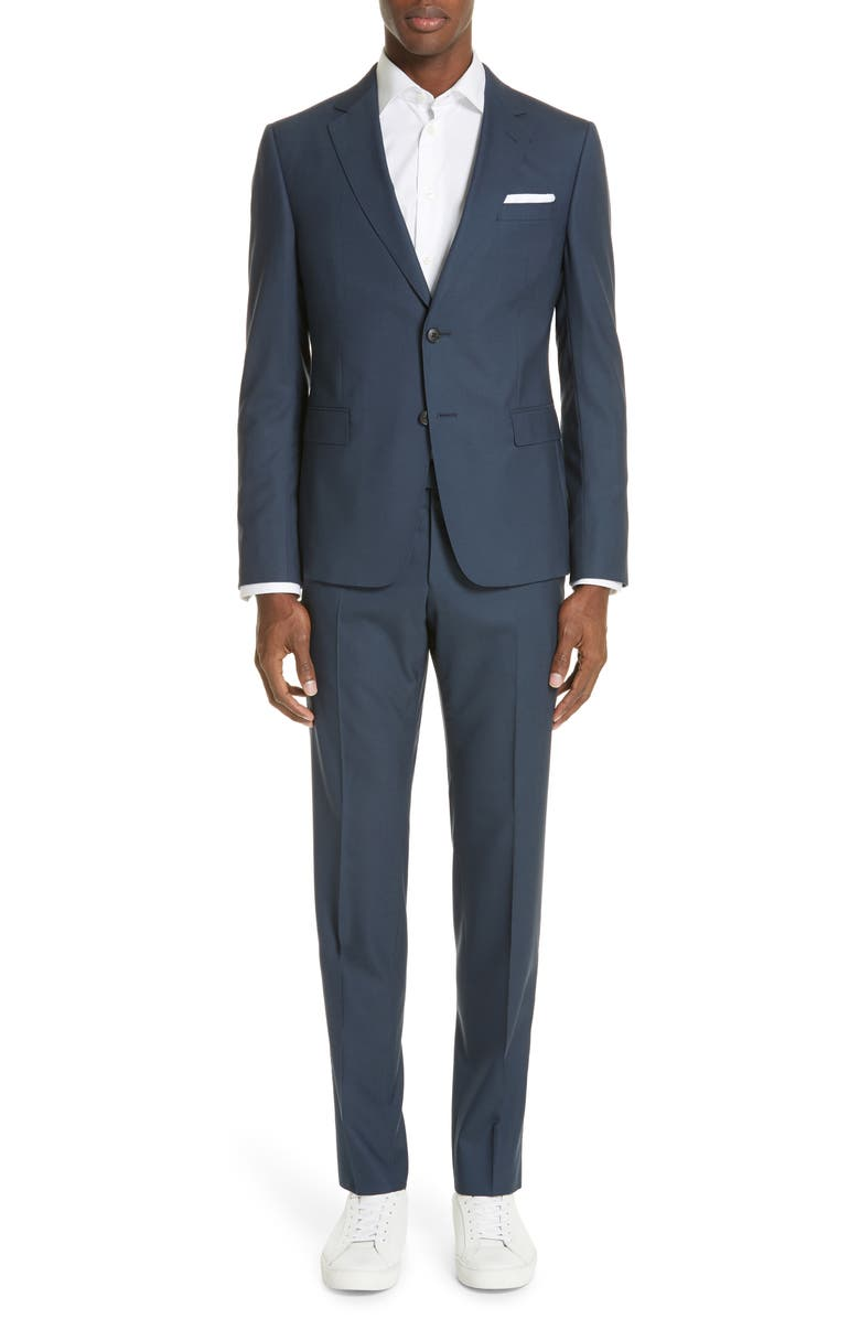 Z ZEGNA Trim Fit Solid Wool Travel Suit, Main, color, BRIGHT BLUE