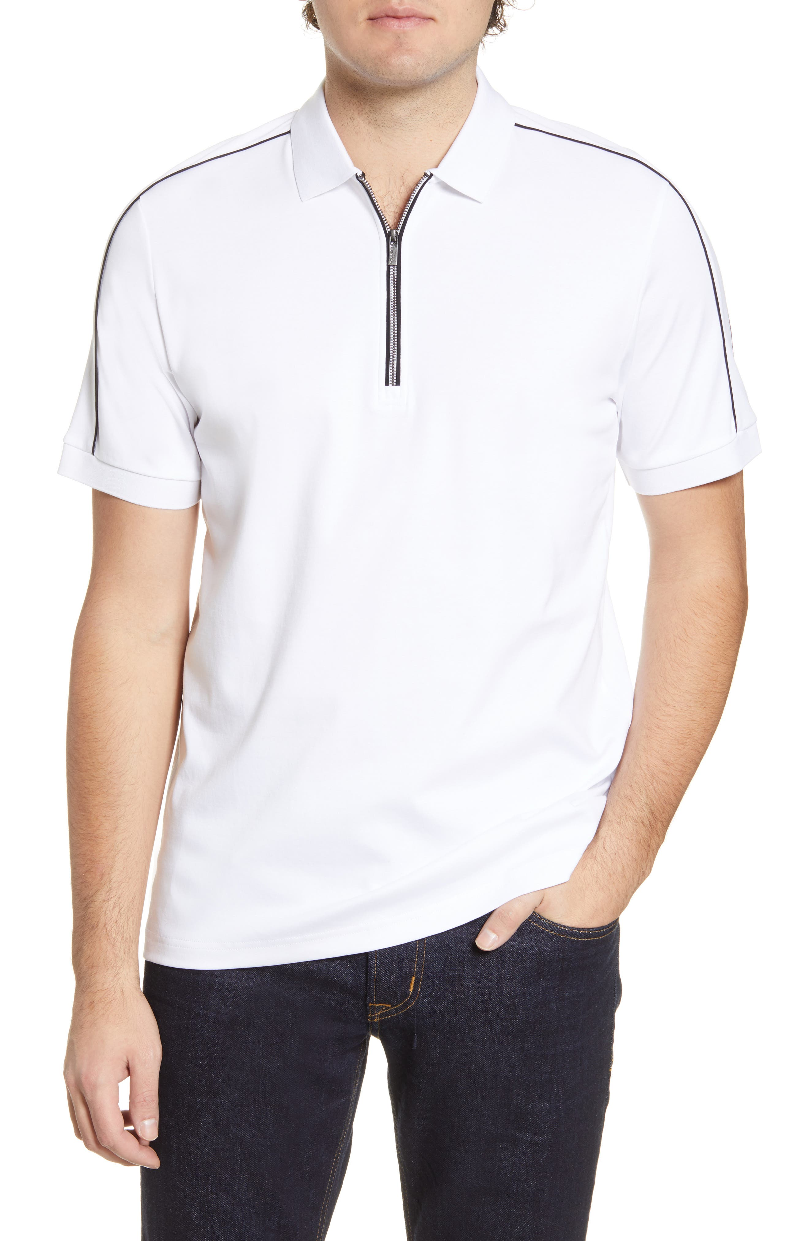 Sport contrast details touch up a versatile polo shirt cut from pure pima cotton. Style Name: Bugatchi Pima Cotton Zip Polo. Style Number: 5988104. Available in stores.