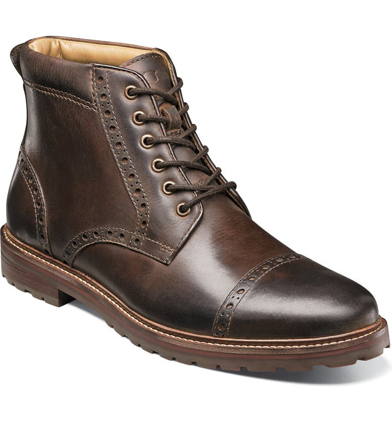 FLORSHEIM Estabrook Cap Toe Boot, Main, color, BROWN LEATHER
