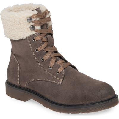 Band Of Gypsies Dillon Fleece Cuff Lace Up Boot- Grey