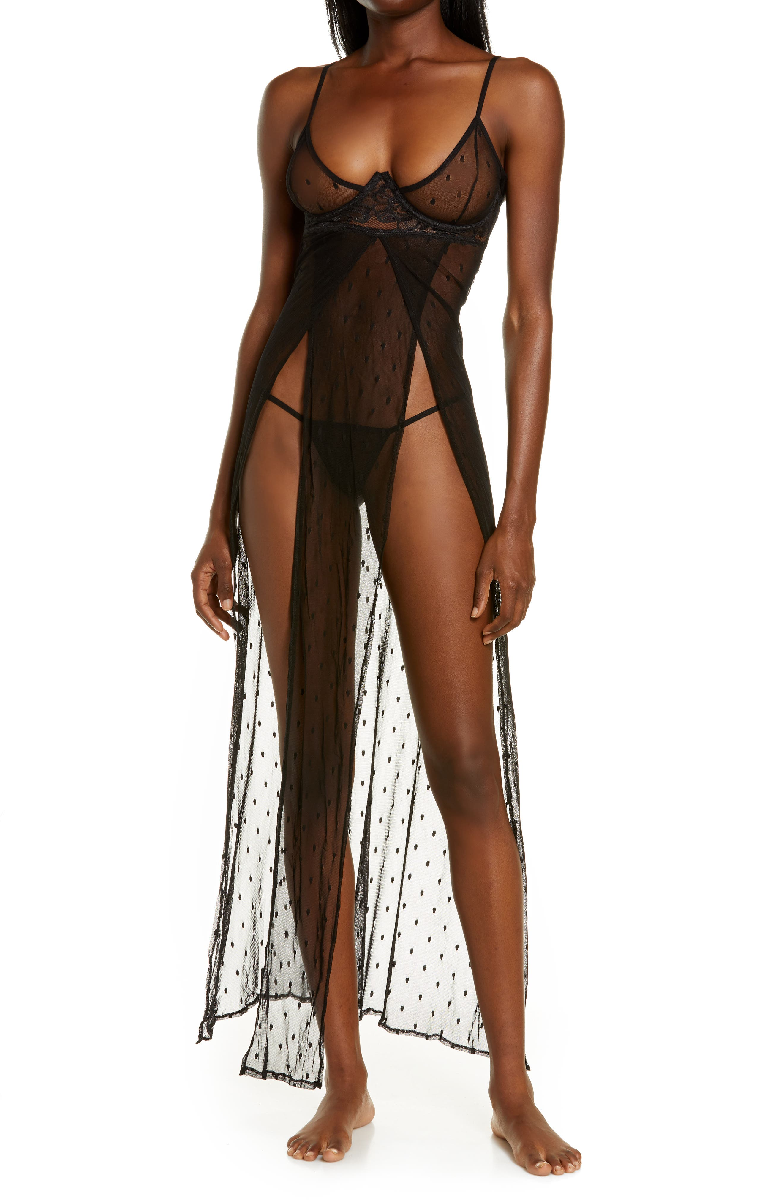 Underwire Mesh Nightgown & G-String Thong Set