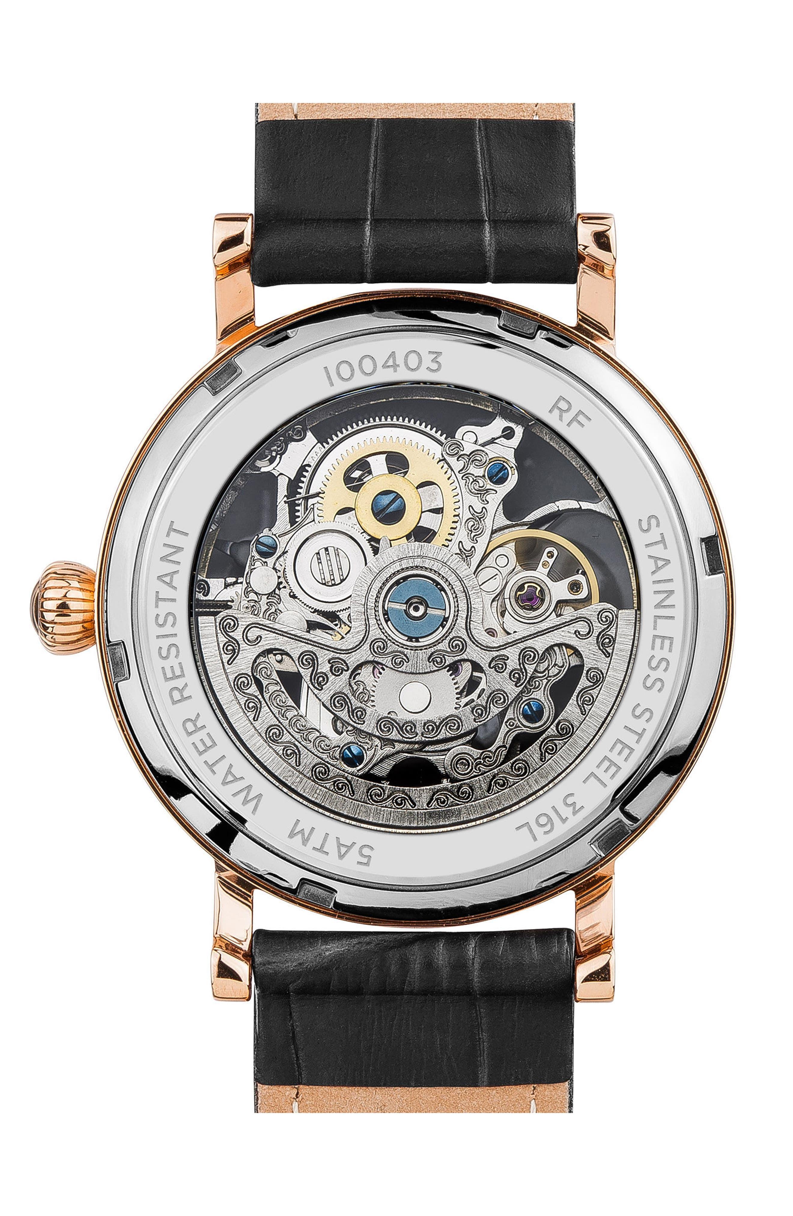 ,                             Ingersoll Herald Automatic Skeleton Leather Strap Watch, 40mm,                             Alternate thumbnail 2, color,                             BLACK/ SKELETON/ ROSE GOLD
