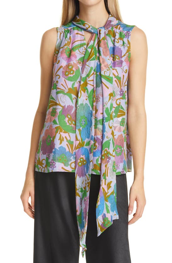 Tanya Taylor Adalira Tie Neck Sleeveless Silk Georgette Top In Floral Sweet Lavendar