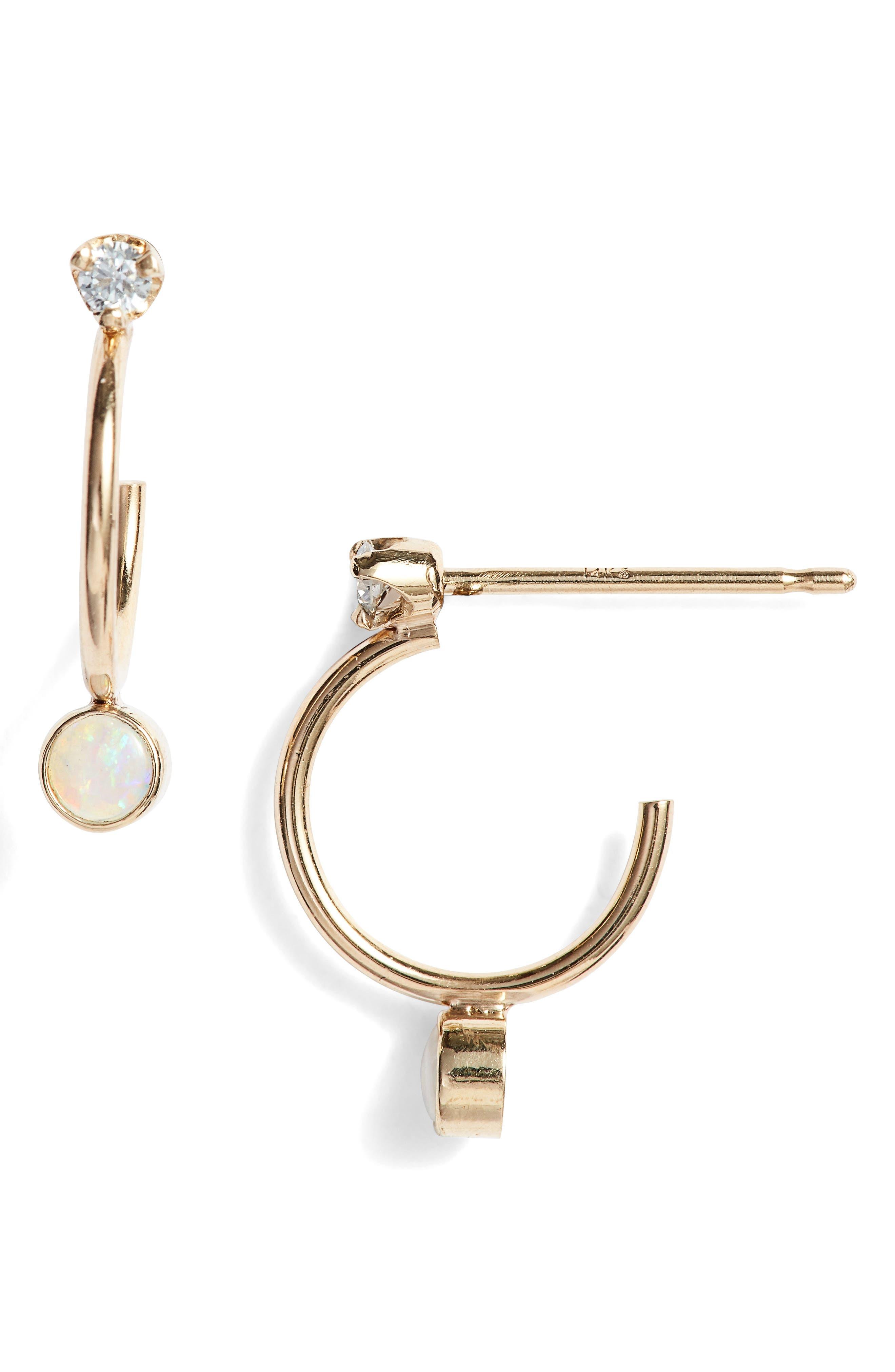 Zoe Chicco Diamond And Opal Huggies