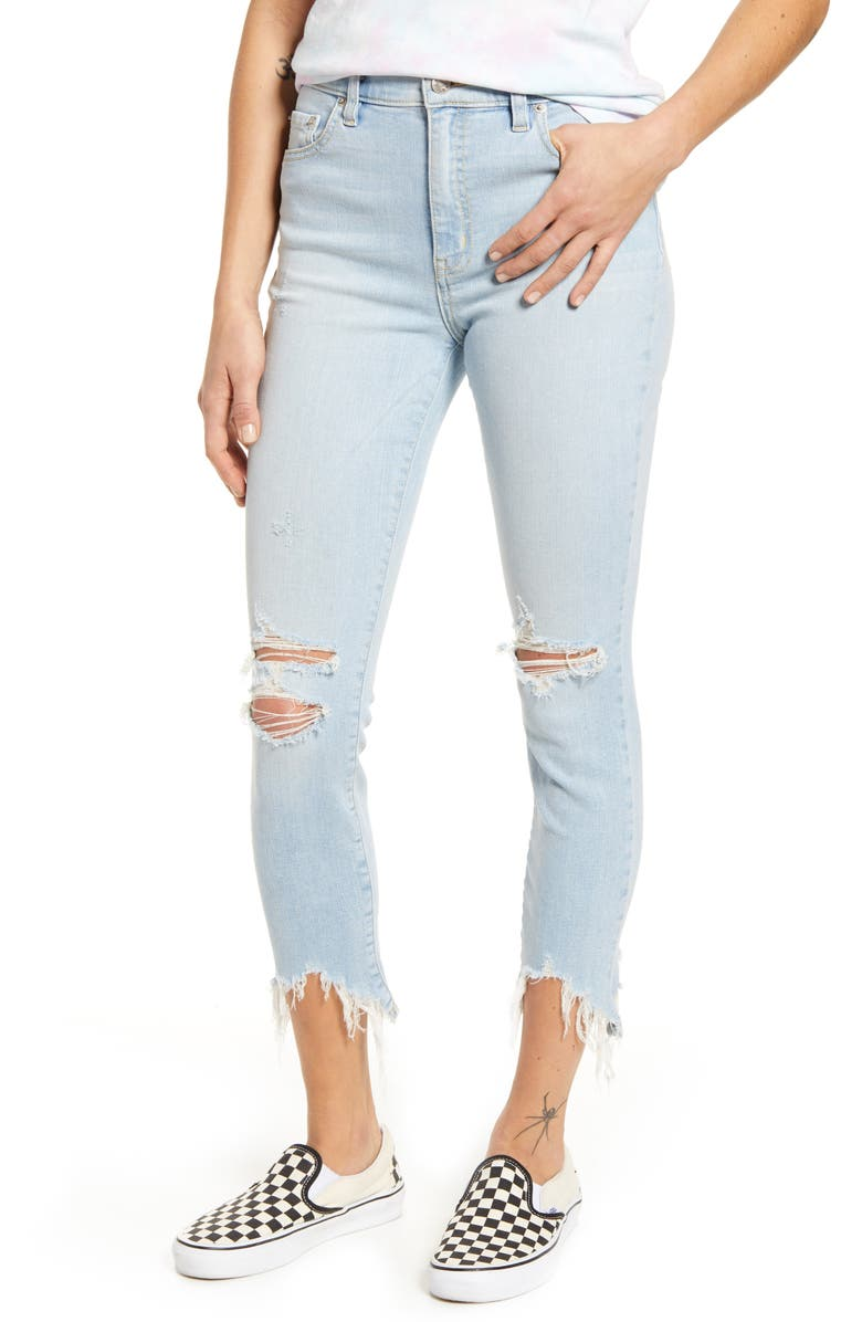 DAZE Call You Back Ripped High Waist Crop Skinny Jeans, Main, color, 454