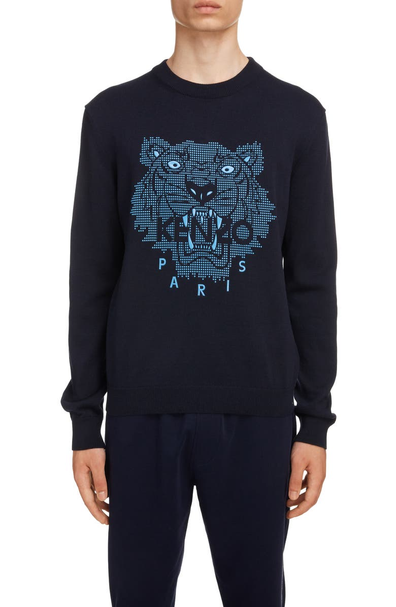 KENZO Rubber Tiger Head Sweater, Main, color, MIDNIGHT BLUE