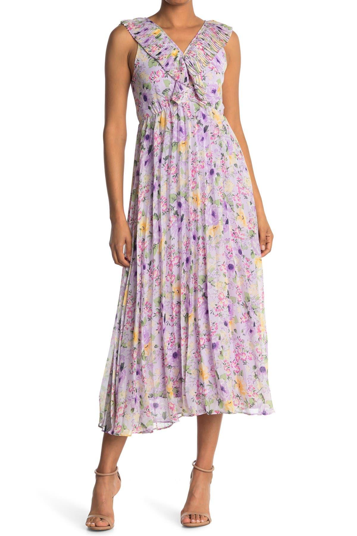 Melloday Pleated V-neck Crepe Maxi Dress In Open Purple9