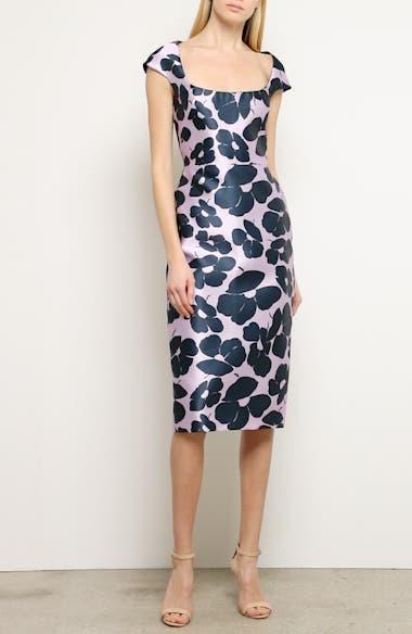 Floral Print Silk Blend Sheath Dress, video thumbnail