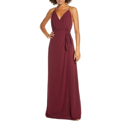 Wayf The Wynona Faux Wrap Gown, Red
