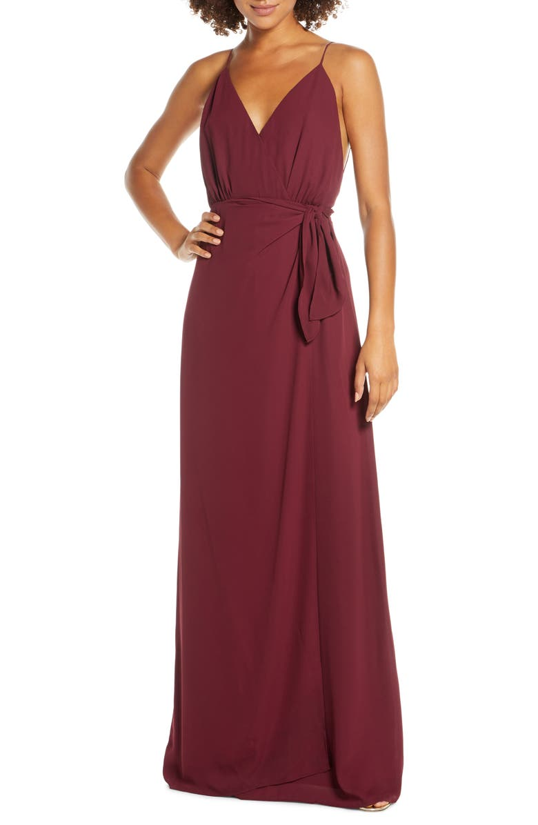 WAYF The Wynona Faux Wrap Gown, Main, color, CABERNET