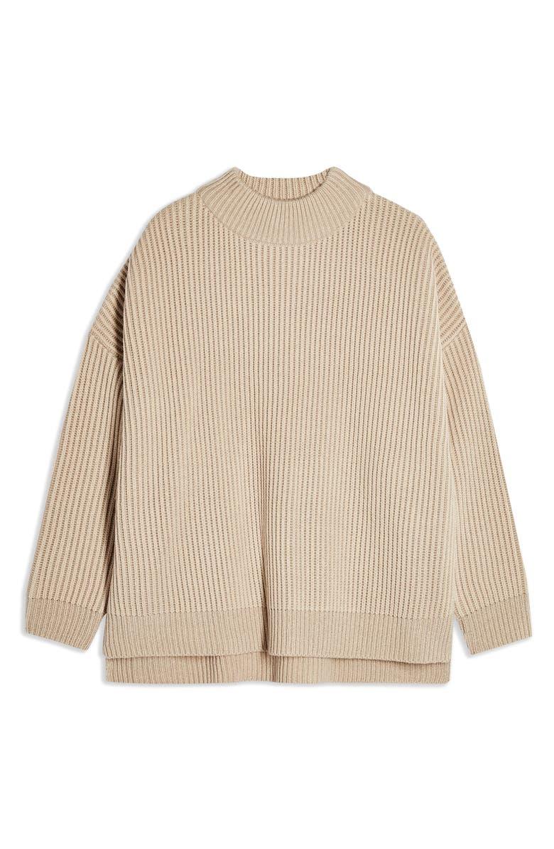 TOPSHOP Mock Neck Sweater, Alternate, color, OAT