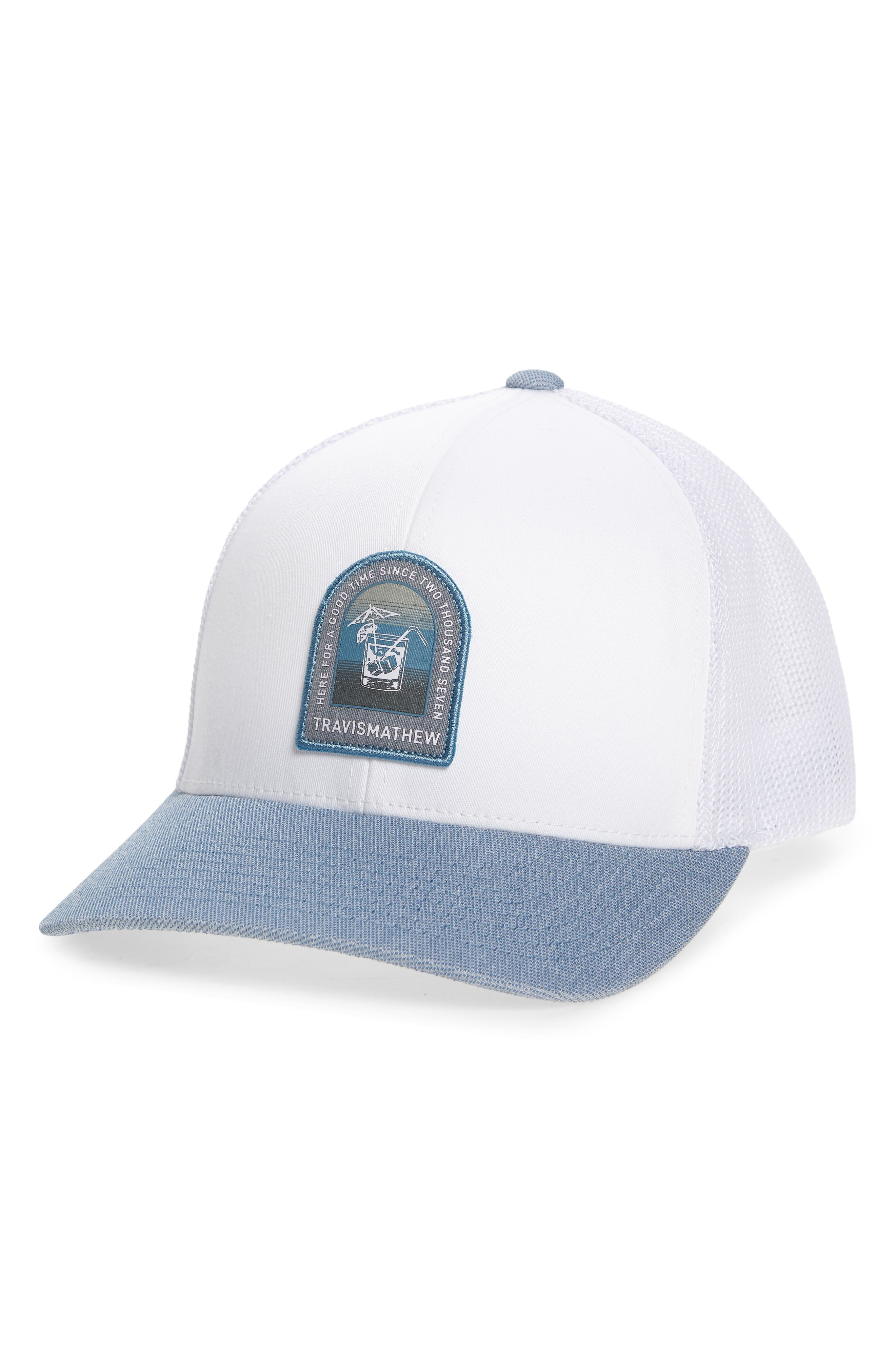 A stylized vintage-look patch keeps you looking ahead to the 19th hole in this cool mesh trucker hat. Style Name: Travismathew Golden Snapper Trucker Hat. Style Number: 6121077. Available in stores.