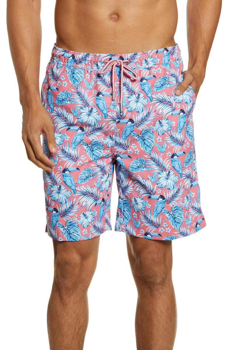 PETER MILLAR Toucanopy Swim Trunks, Main, color, RED GINGER