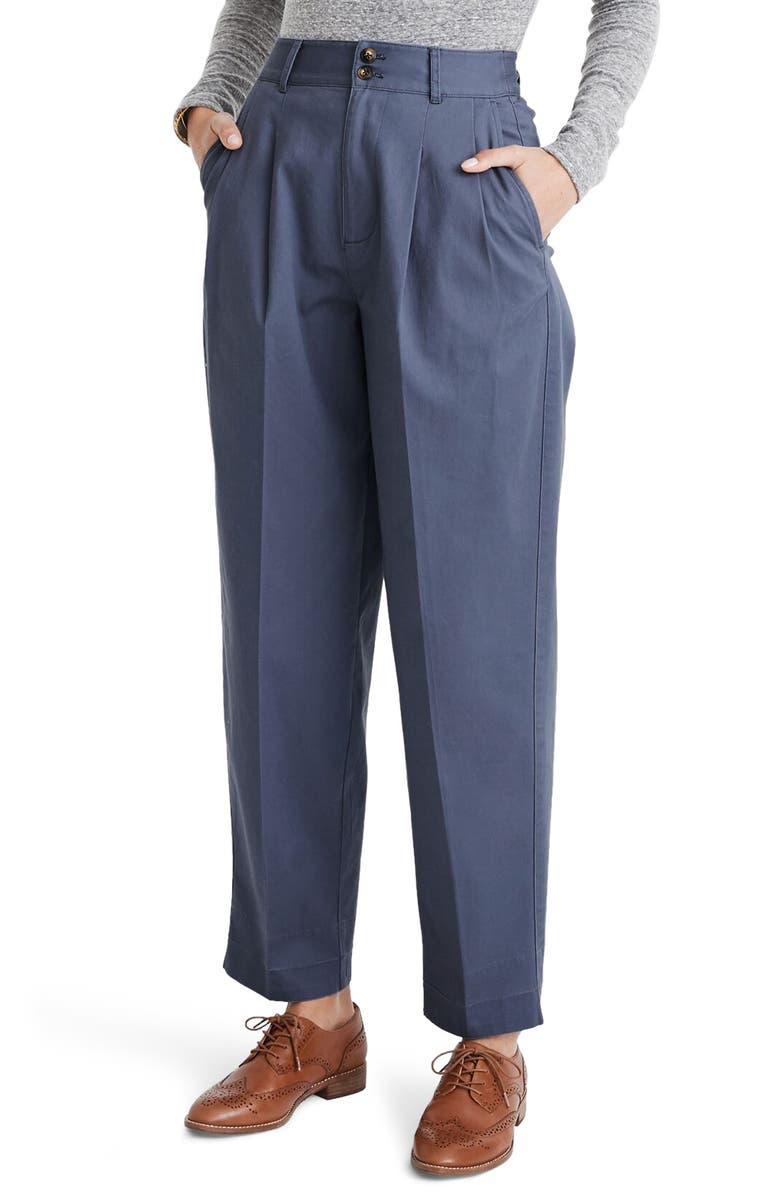 MADEWELL Pleated Taper Wide Leg Pants, Main, color, SUNFADED INDIGO