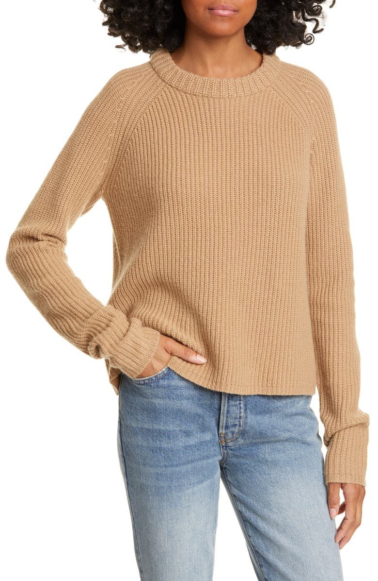 JENNI KAYNE Cashmere Fisherman Sweater, Main, color, CAMEL