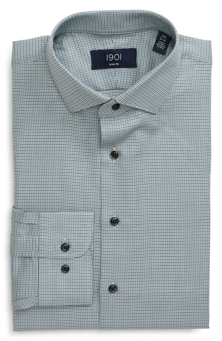 1901 Trim Fit Plaid Dress Shirt, Main, color, GREEN FLUORITE