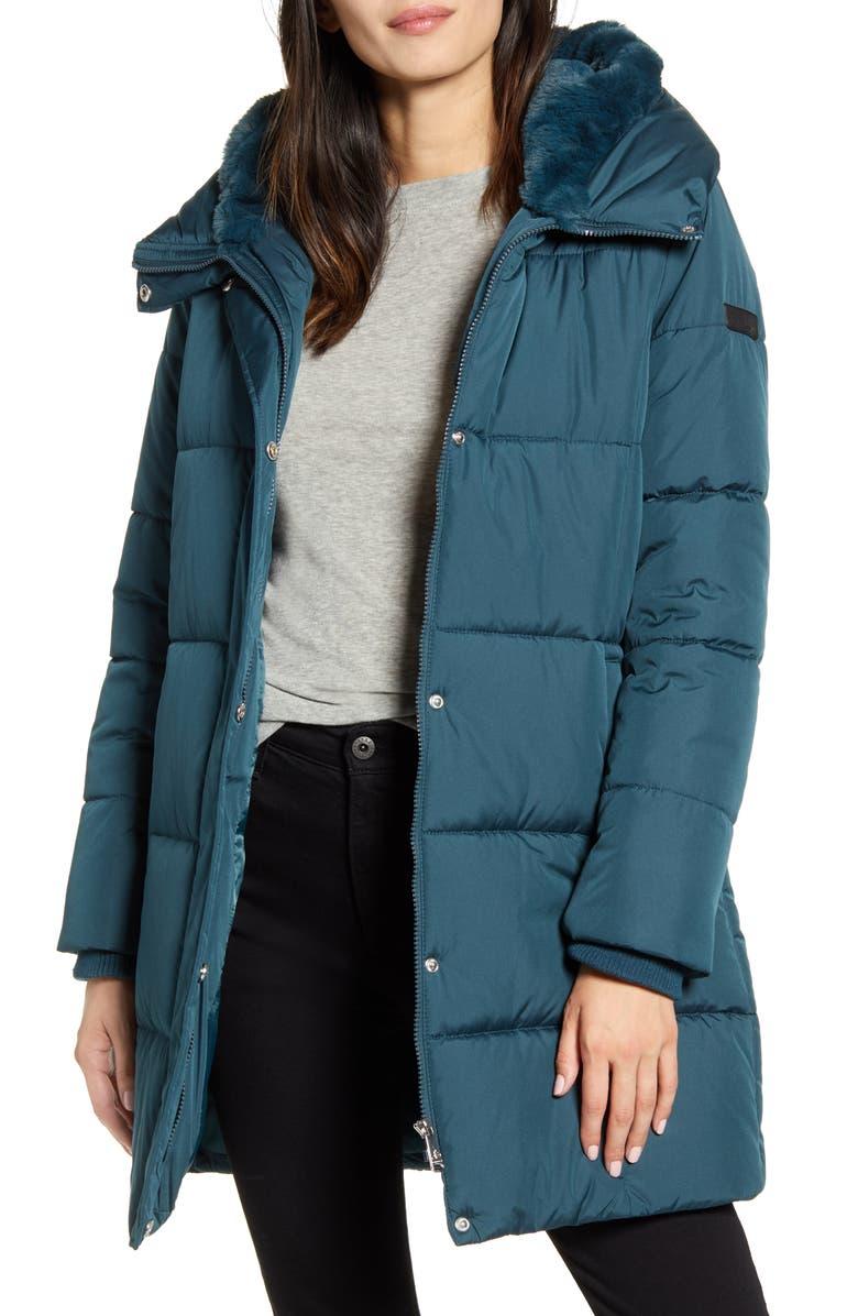 SAM EDELMAN Puffer Coat, Main, color, TEAL