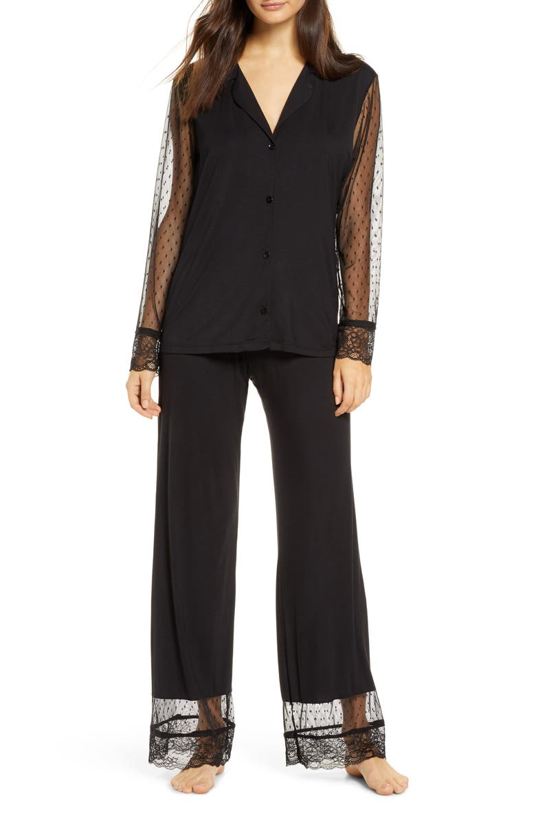 EBERJEY Iona Love Me Pajamas, Main, color, BLACK