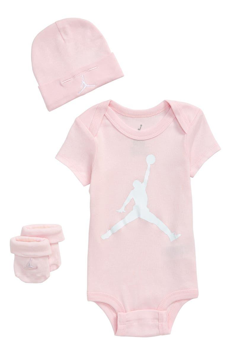 NIKE Jumpman Logo Bodysuit, Hat & Socks, Main, color, ARCTIC PINK