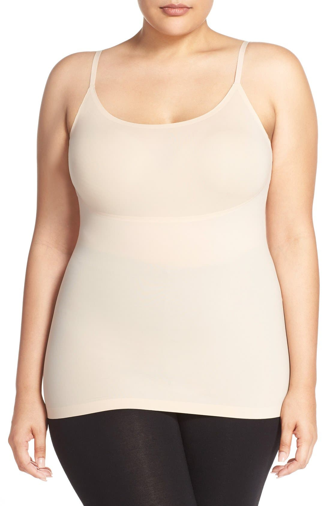The best base layer is this smoothing, lightweight cami with added performance features like breathability, moisture-wicking comfort and absorbency. Style Name: Spanx Thinstincts Convertible Camisole (Plus Size). Style Number: 5145951. Available in stores.