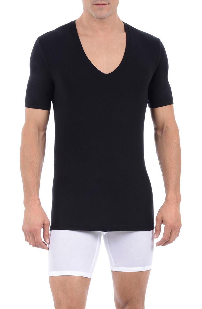 TOMMY JOHN Cool Cotton Deep V-Neck Undershirt, Main, color, BLACK