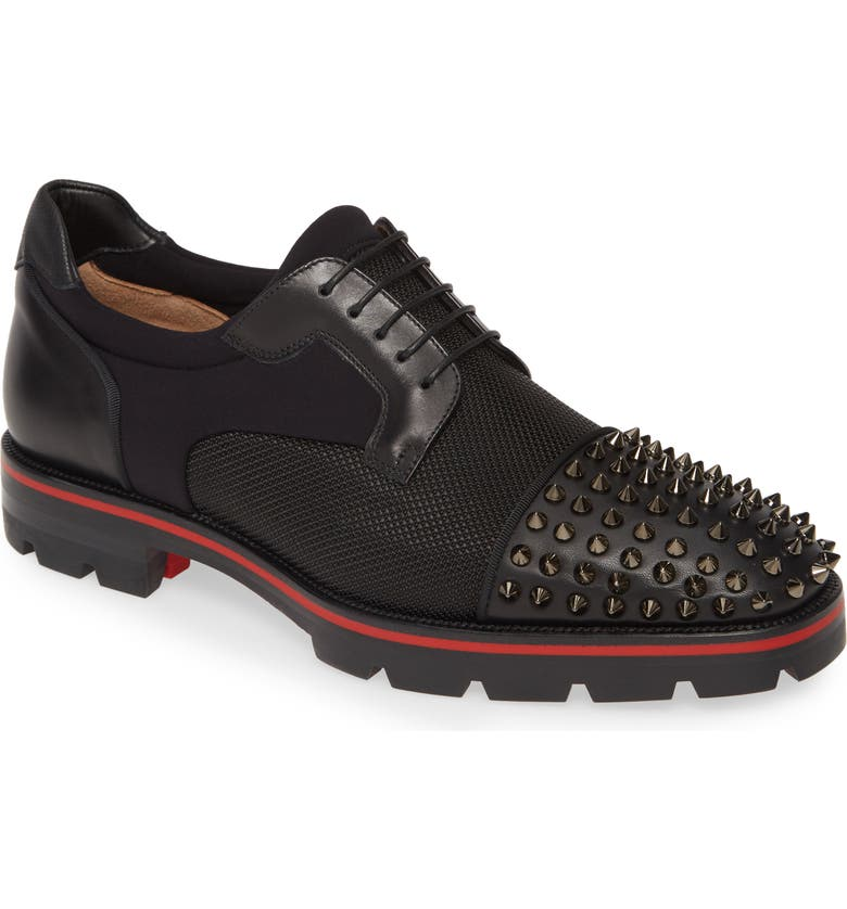 CHRISTIAN LOUBOUTIN Luis Spikes Cap Toe Derby, Main, color, BLACK