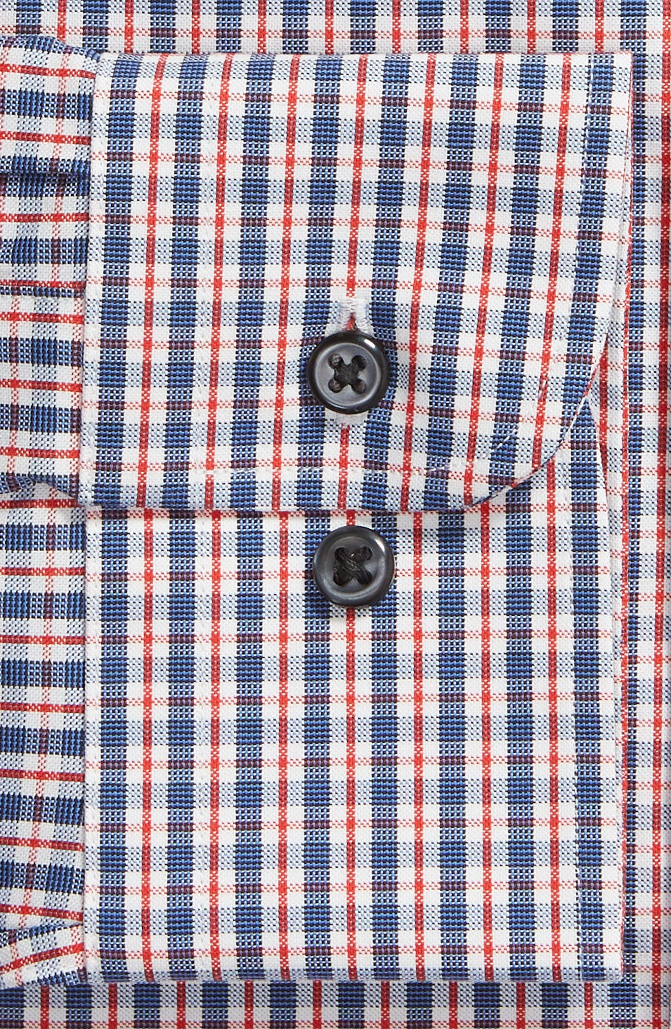 ,                             Tech-Smart Trim Fit Stretch Check Dress Shirt,                             Alternate thumbnail 6, color,                             RED RIBBON