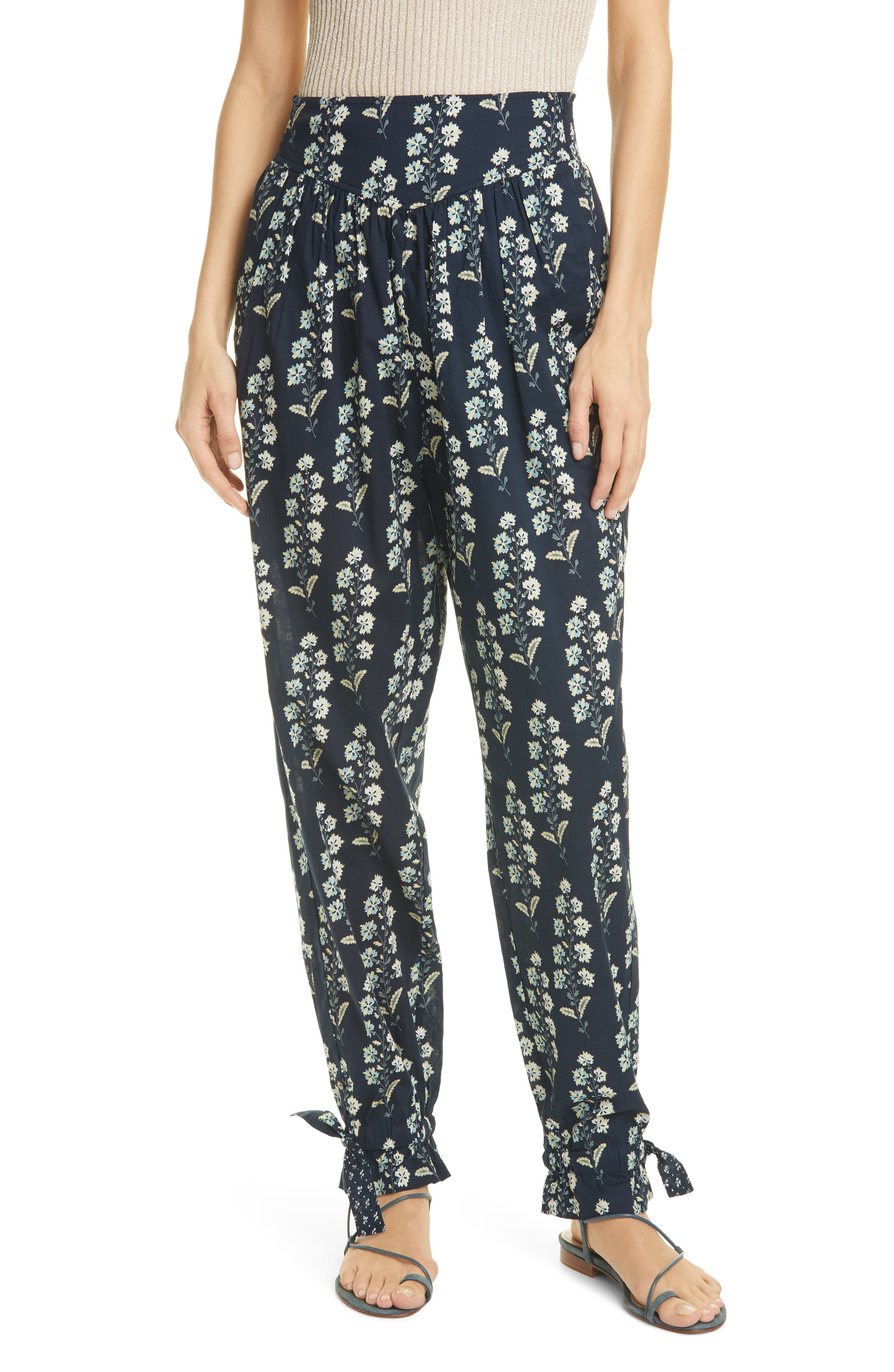 Women's La Vie Rebecca Taylor Larkspur Floral Cotton Pants,  Medium - Blue