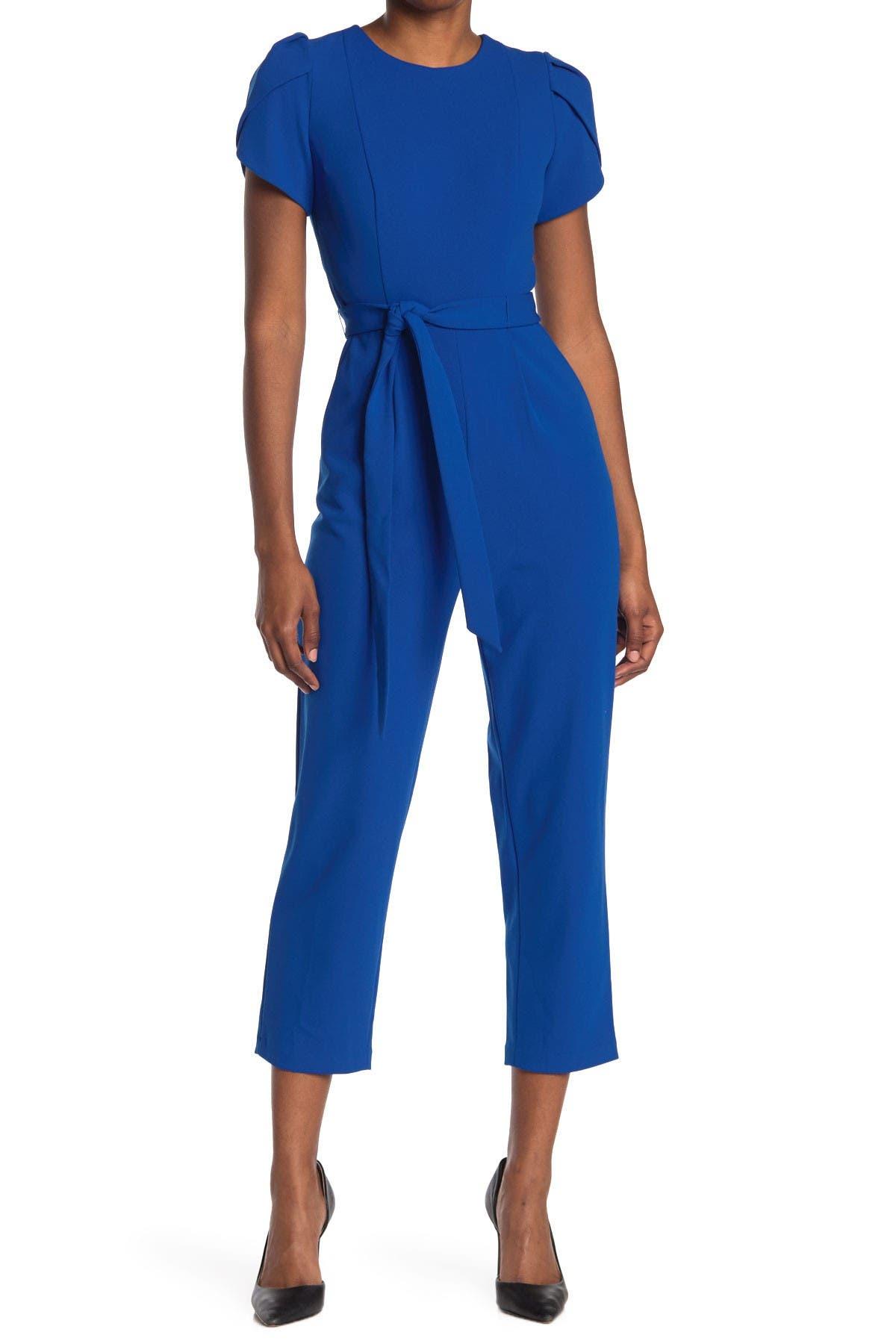 Image of Calvin Klein Puff Sleeve Tie Waist Crop Jumpsuit