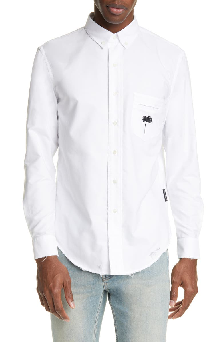 PALM ANGELS PXP Ripped Long Sleeve Button Down Oxford Shirt, Main, color, WHITE BLACK