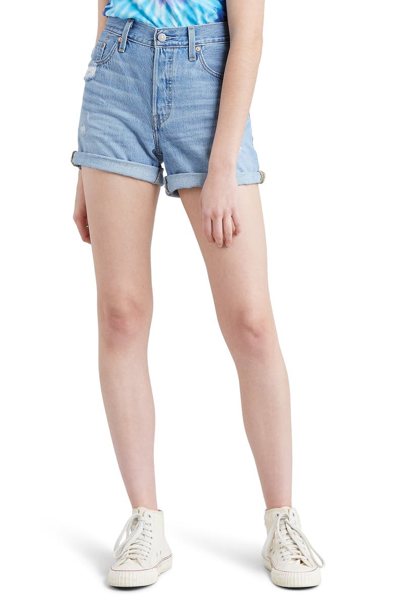 LEVI'S<SUP>®</SUP> 501<sup>®</sup> Cuff Long Denim Shorts, Main, color, MONTGOMERY MENDED SHORT