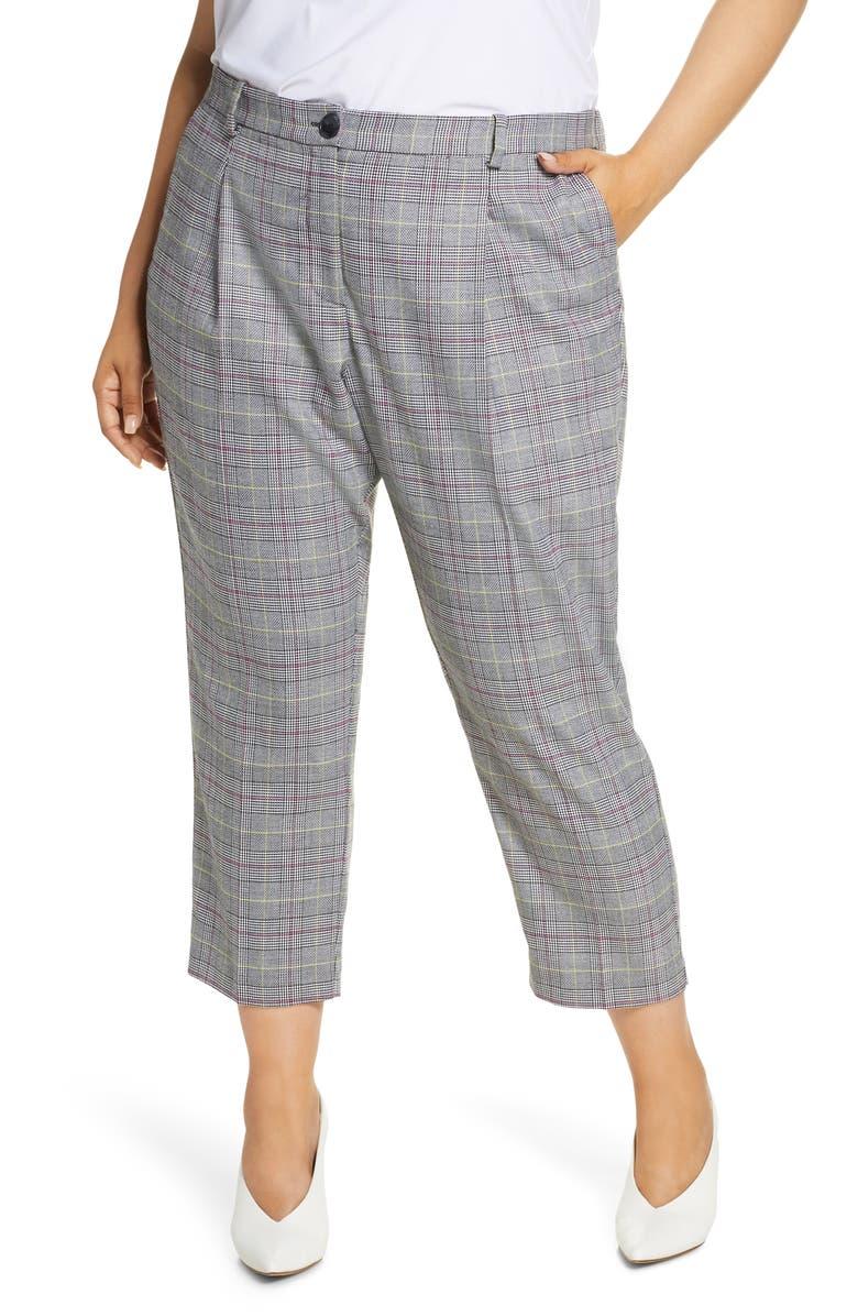 VINCE CAMUTO Glen Plaid Ankle Pants, Main, color, LIME CHROME
