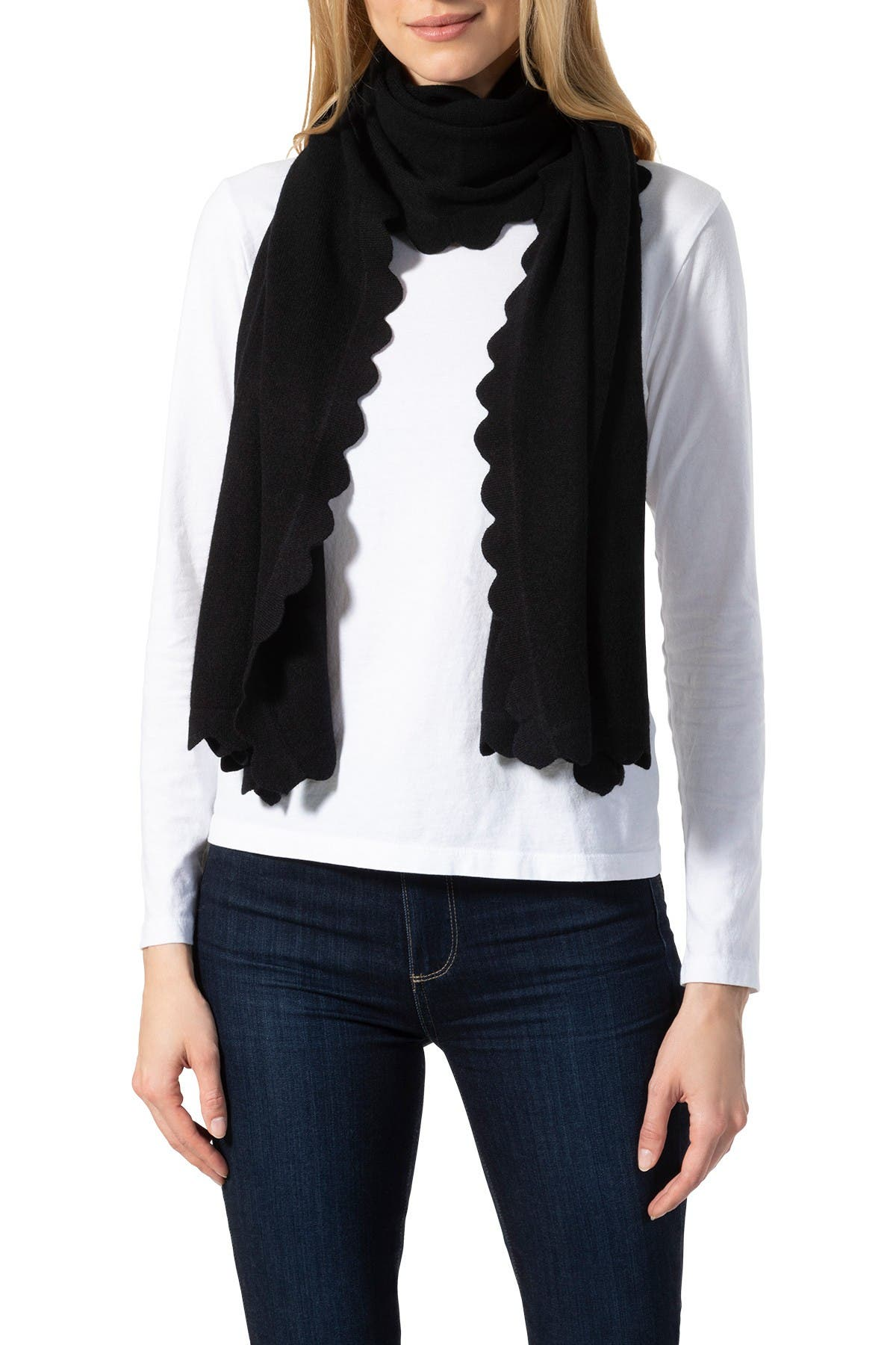 Image of AMICALE Cashmere Scalloped Edge Knit Scarf