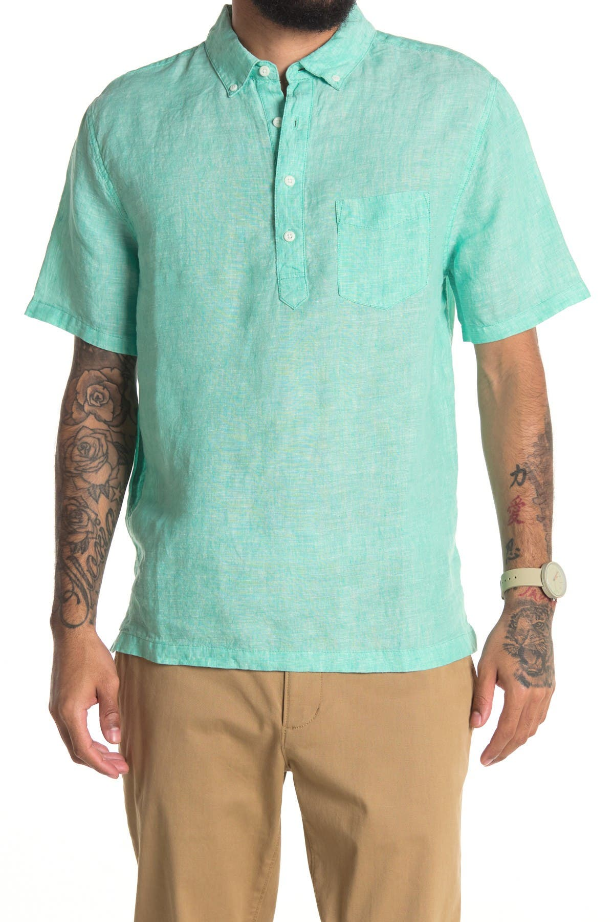 1950s Mens Shirts | Retro Bowling Shirts, Vintage Hawaiian Shirts Onia Josh Linen Partial Button Slim Fit Shirt Size XL - Bright Min at Nordstrom Rack $34.97 AT vintagedancer.com