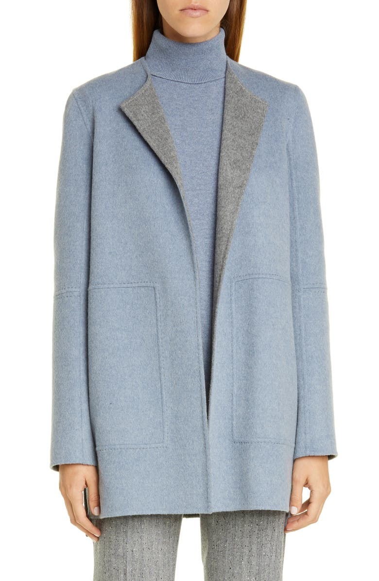 LAFAYETTE 148 NEW YORK Rowena Reversible Double Face Jacket, Main, color, BLUE DUSK/ NICKEL