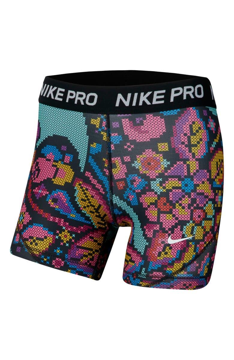 NIKE Pro Dri-FIT Print Bike Shorts, Main, color, BLACK/ BLACK/ WHITE/ WHITE