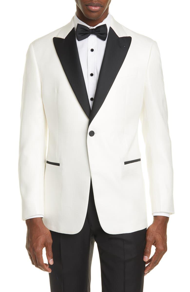 EMPORIO ARMANI Trim Fit Dinner Jacket, Main, color, WHITE