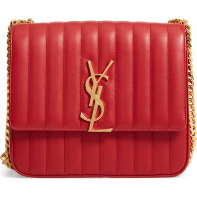 Saint Laurent Large Vicky Leather Crossbody Bag - Red