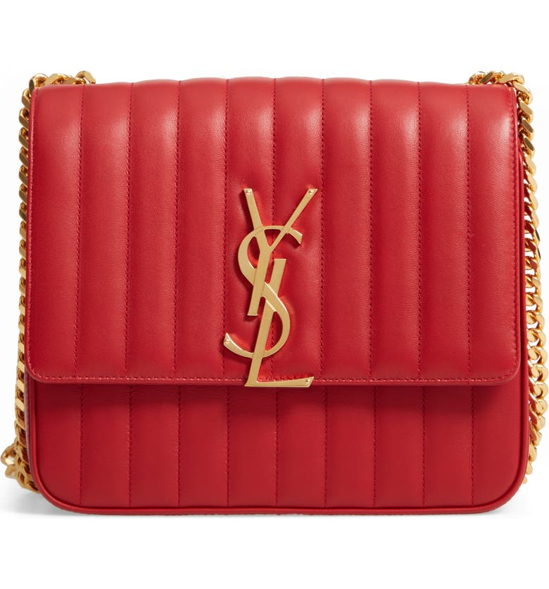SAINT LAURENT Large Vicky Leather Crossbody Bag, Main, color, ROUGE EROS