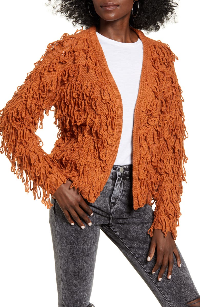 ANGIE Shaggy Cardigan, Main, color, RUST