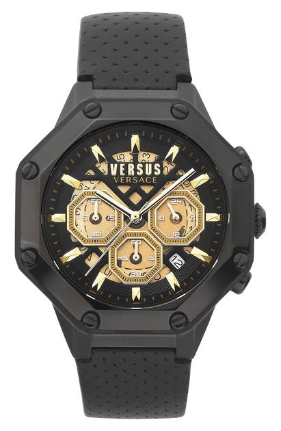 Versus PALESTRO CHRONOGRAPH LEATHER STRAP WATCH, 45MM