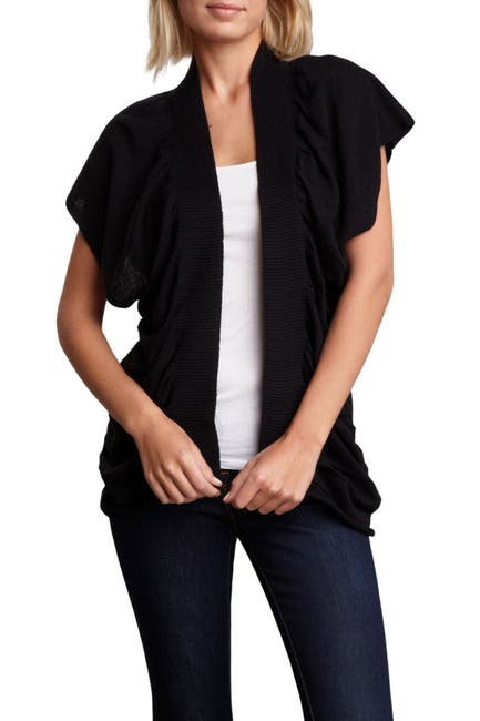 Image of Vertigo Draped Short Sleeve Linen Blend Cardigan
