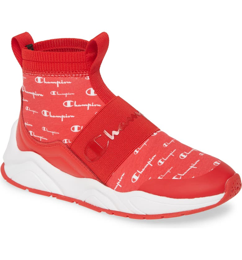 CHAMPION Rally Script High Top Sock Sneaker, Main, color, SCARLET