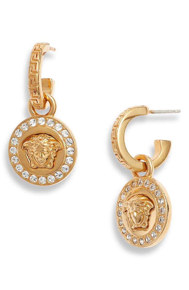 VERSACE Icon Medusa Drop Earrings, Main, color, TRIBUTE GOLD/ CRYSTAL