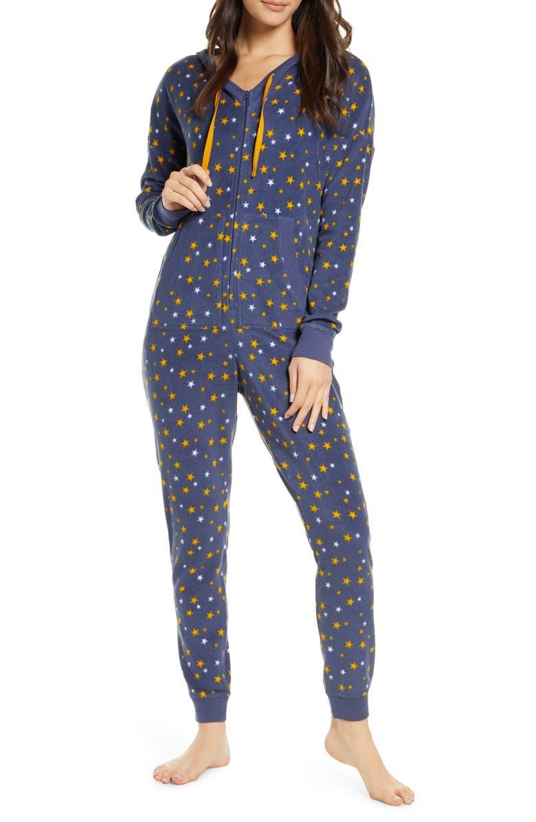 BP. Microfleece Hooded Jumpsuit Pajamas, Main, color, BLUE VINTAGE STARS