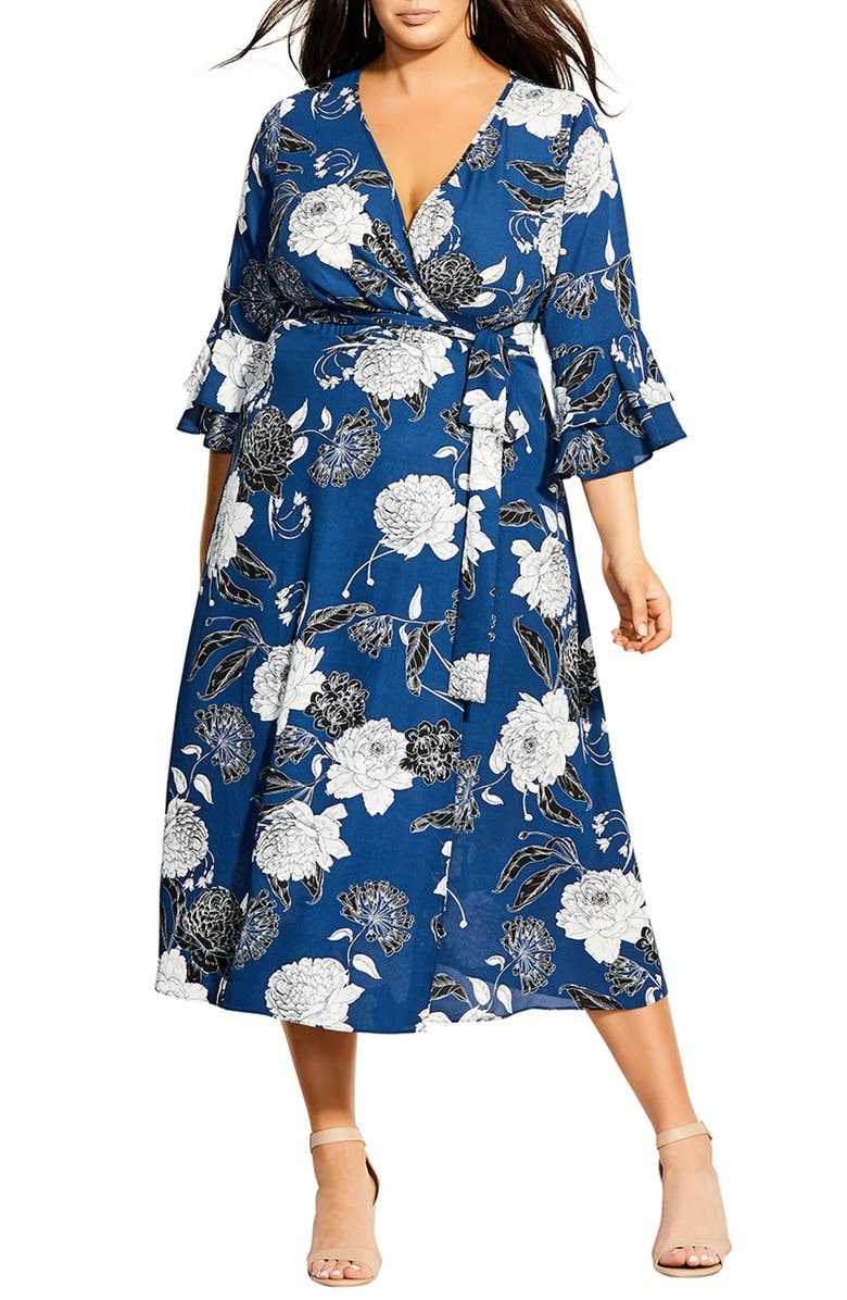 CITY CHIC Sapphire Bloom Faux Wrap Dress, Main, color, SAPPHIRE BLOOM